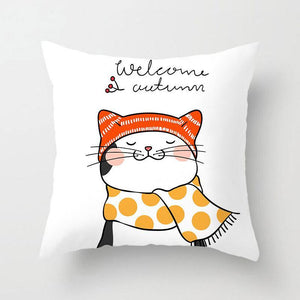 Cat With Scarf Pattern Pillowcase With Welcome Autumn Words