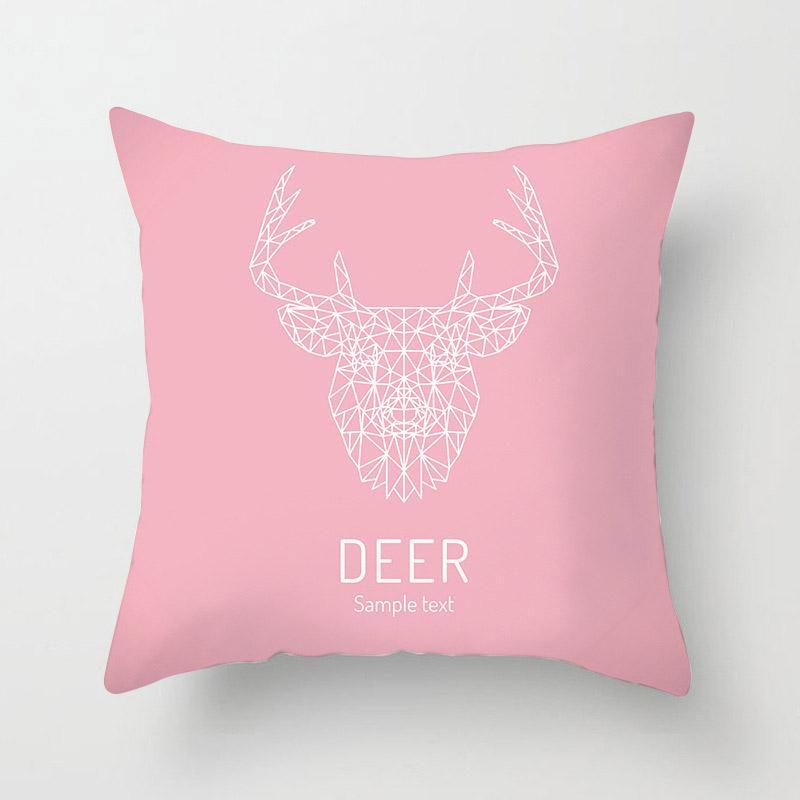 Dear Head With Words DEER Pattern Pillowcase With Pink Background