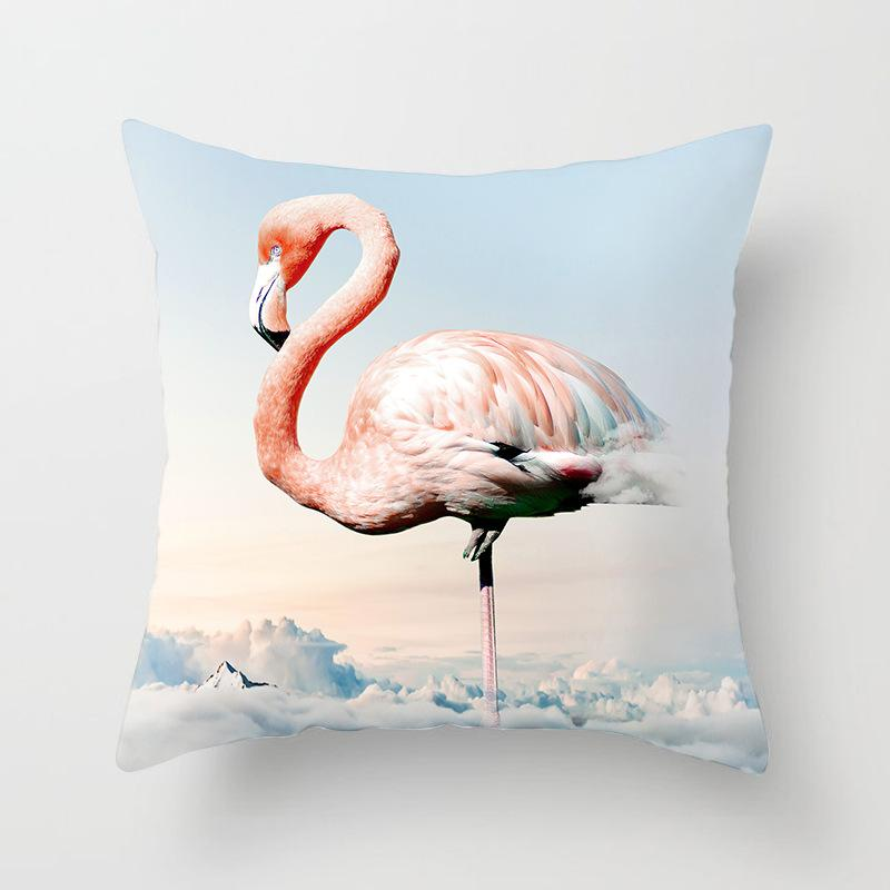 Flamingo Pattern Pillowcase With Clouds