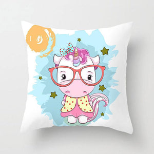 Lovely Small Unicorn With Glasses Pattern Pillowcase With Irregular Blue Background
