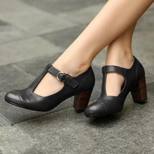 Load image into Gallery viewer, Retro Round Toe T-Strap Chunky Heel Shoes