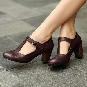 Retro Round Toe T-Strap Chunky Heel Shoes