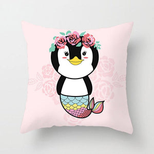 Penguin With Fish Tale Pattern Pillowcase With Pink Flower Background