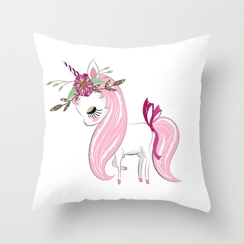 Unicorn With Tie On Tale Pattern Pillowcase With White Background