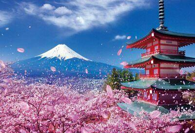 1000 Pieces Jigsaw Puzzles Asama Shrine With Fuji Mountain And Cherry 26X38Cm