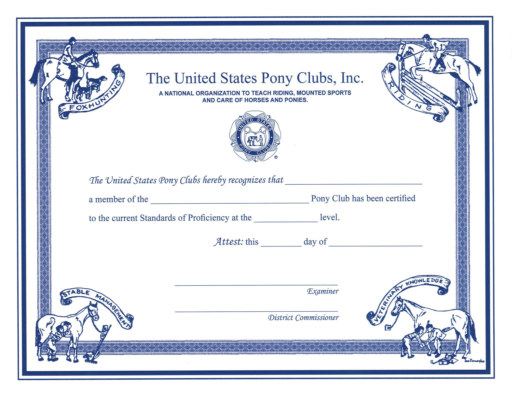 Certificate Of Certification D1 C2 Level Shop Pony Club