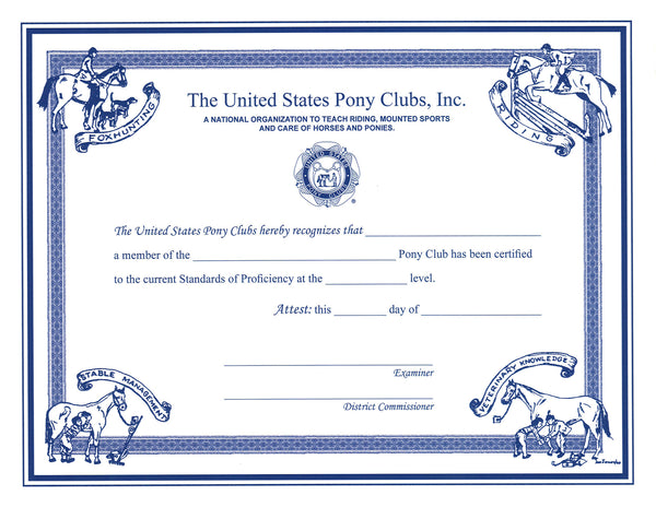 Certificate of Certification: D1 - C2 Level - Shop Pony Club