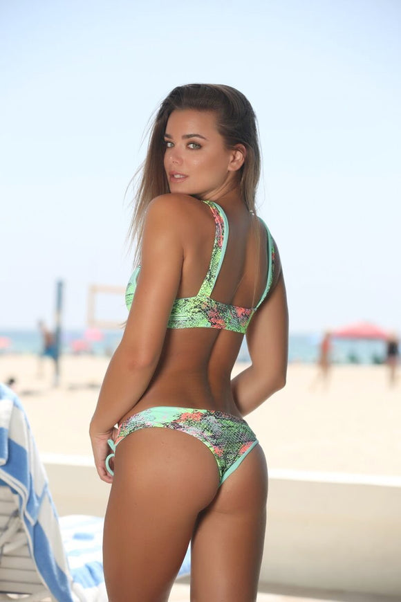 Avery Bottom in Mint Snakeskin (Reversible to Mint) - Sweet Treat Bikinis