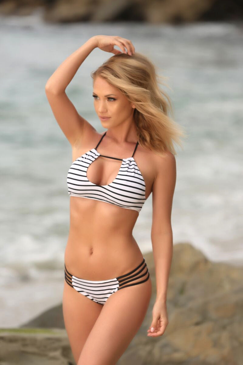 Stella Bottom in White and Black Striped - Sweet Treat Bikinis