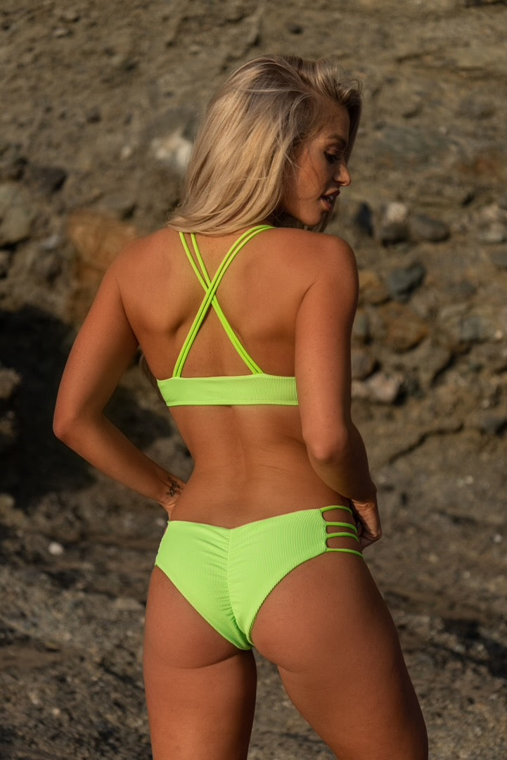 Stella Bottom - Neon Green Ribbed