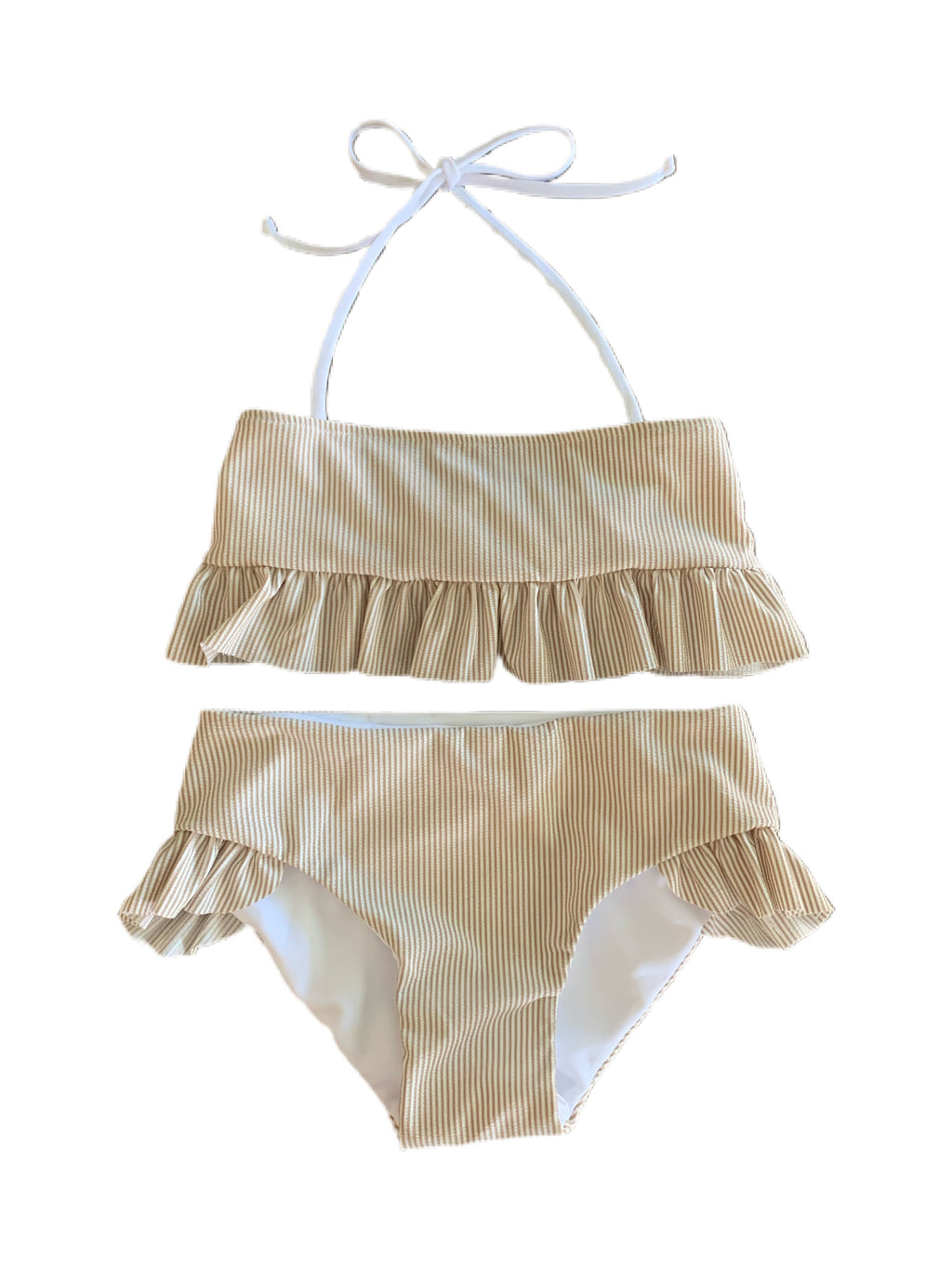 Girls Two Piece Ruffle Set in Taupe Seersucker