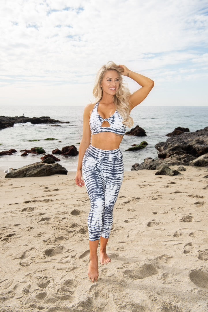 Dylan Sports Bra - Black and White Tie-Dye