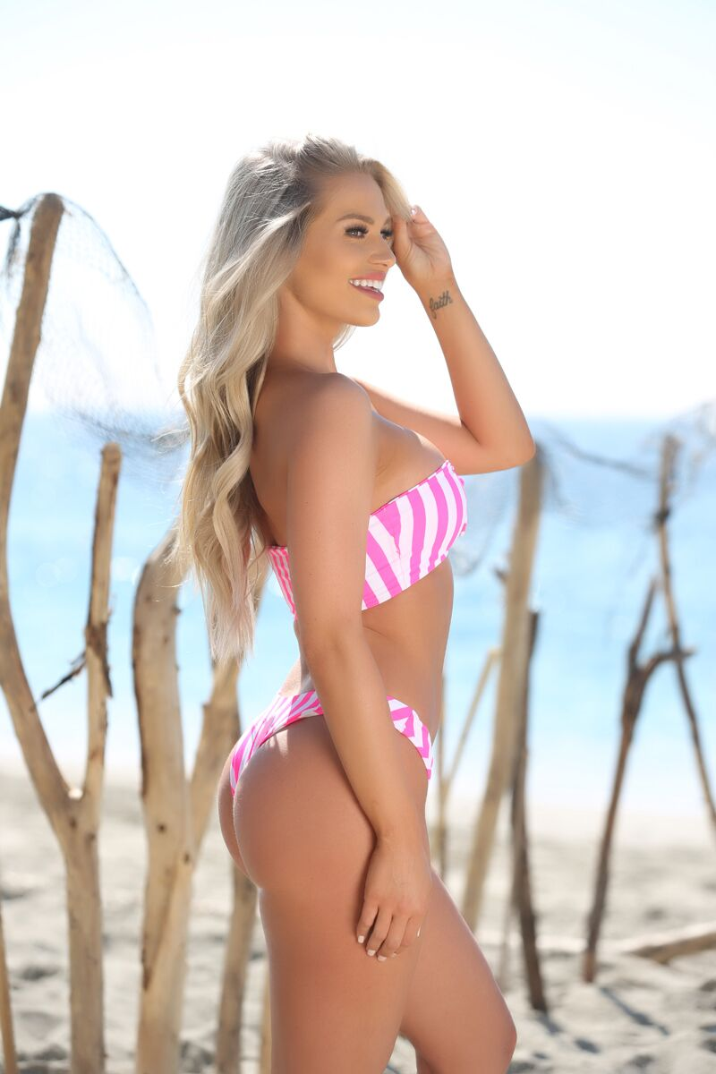 Payton Bottom in Neon Pink and White Striped - Sweet Treat Bikinis