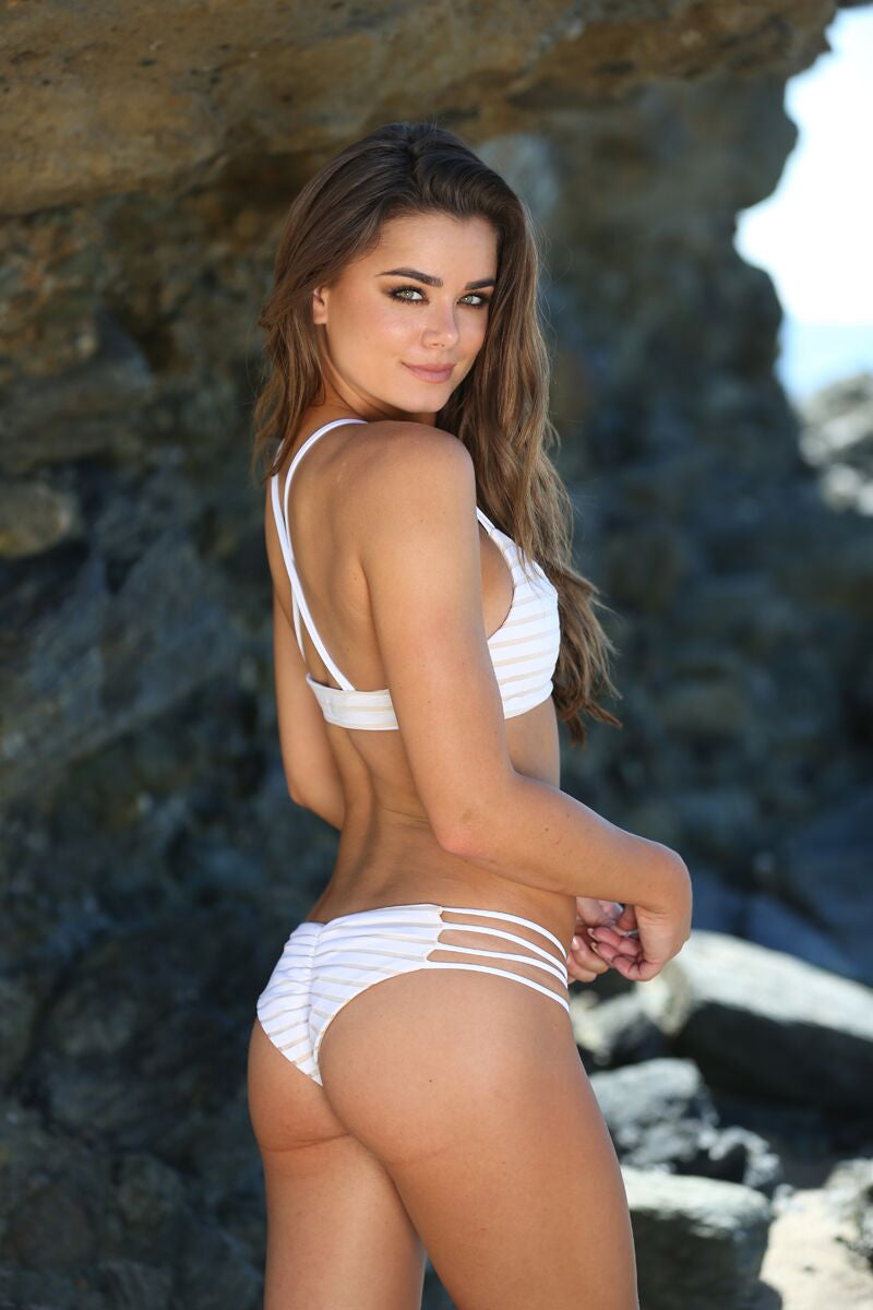 Stella Bottom in White Striped - Sweet Treat Bikinis