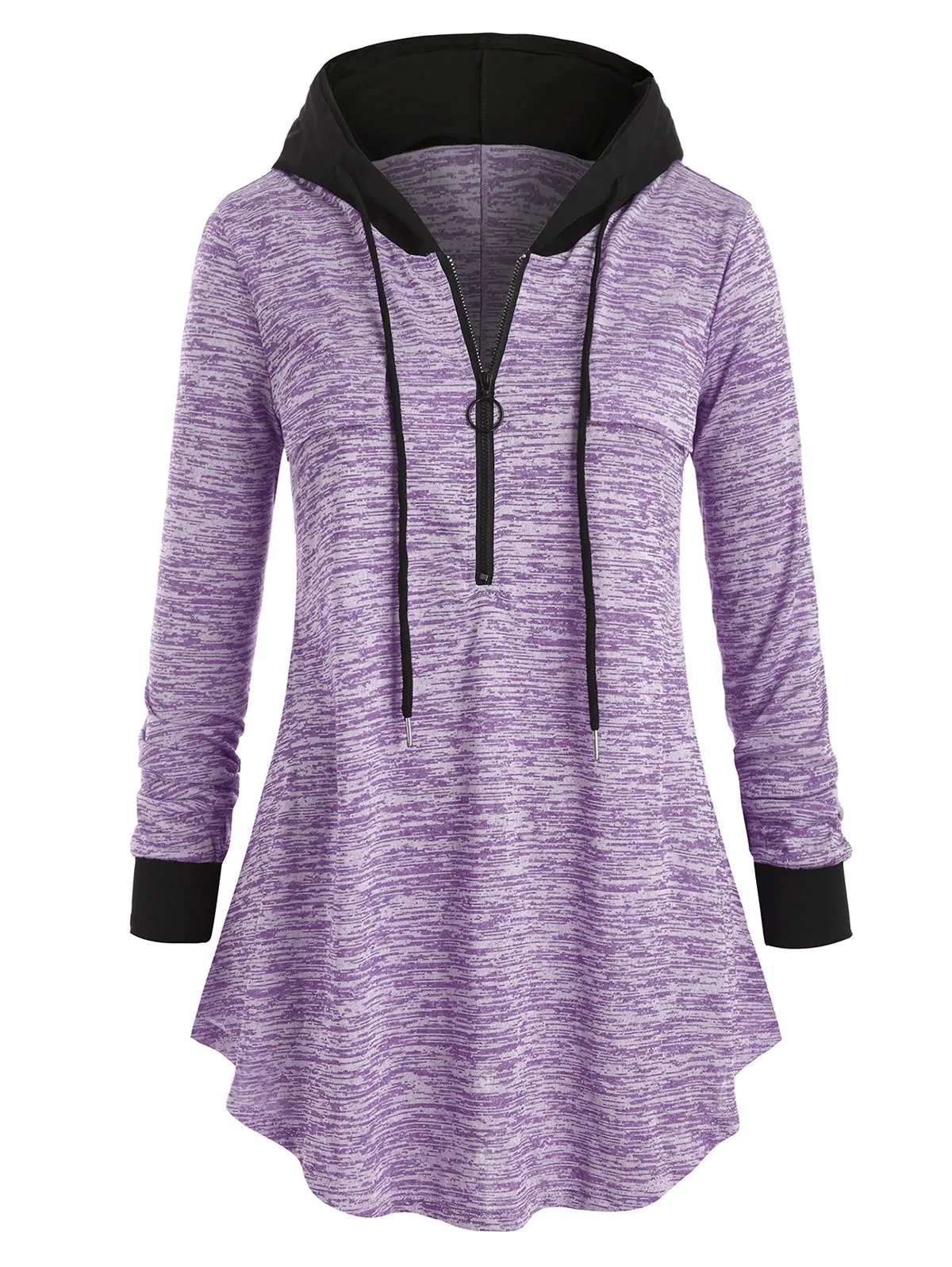 Plus Size Space Dye Half-zip Hooded Tunic Top - 1x