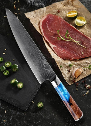 Steel 8'' Chef Knife With Blue Resin Handle