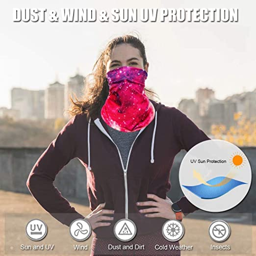 Fashion Galaxy Face Bandana Neck Gaiter, Sun UV Protection Reusable Half Mask Scarf, Motorcycle Balaclava for Women Men