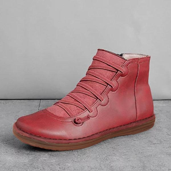 Women Comfortable Soft Sole Closed Toe Slip Resistant Flat Ankle Casual Zipper Boots