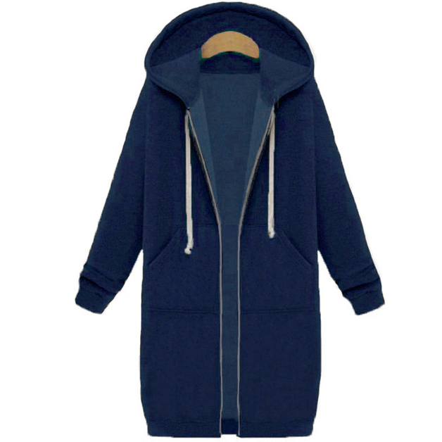 Women's Long Zip Sweatshirt Hoodie