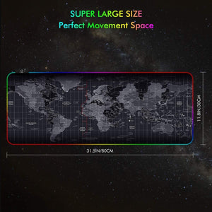 Premium XL Extended LED Mouse Pad - World Map