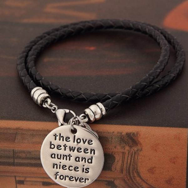 The Love Between Aunt and Niece is Forever Hand Stamped Bracelet