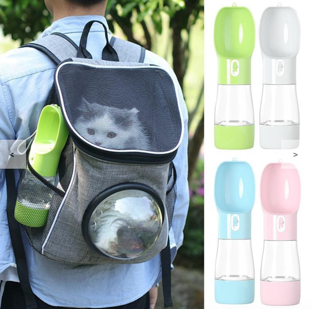 Portable Pet Bottle Water Cup Food Container Sealing Ring Design For Walking And Traveling