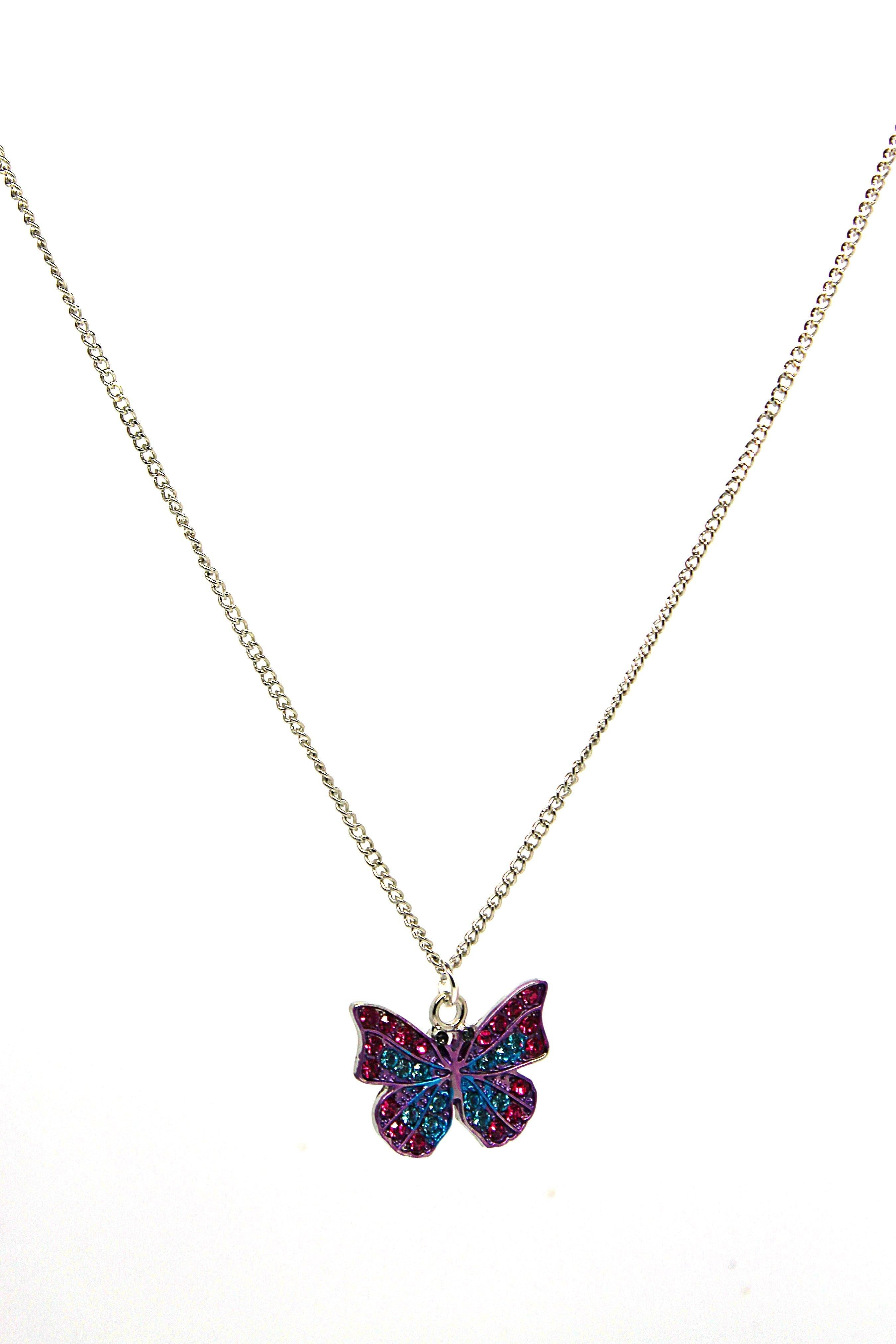 Butterfly Pink & Blue Necklace - Wildtouch - Wildtouch