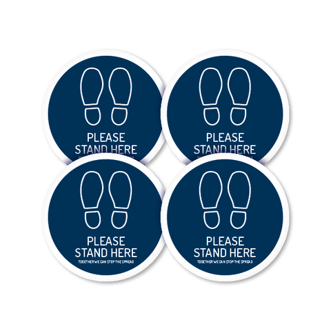 Stand Here 250mm Round Floor Decal (4 Pack)