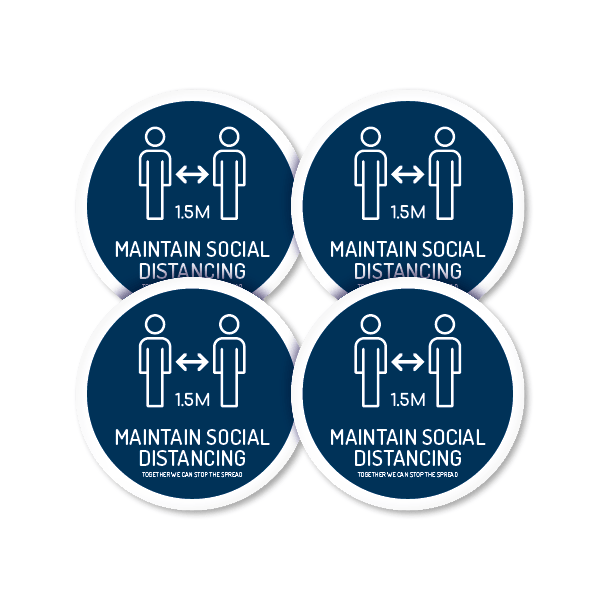 Maintain Social Distancing 250mm Round Floor Decal (4 Pack)