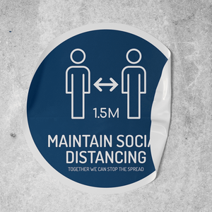 Maintain Social Distancing 500mm Round Floor Decal