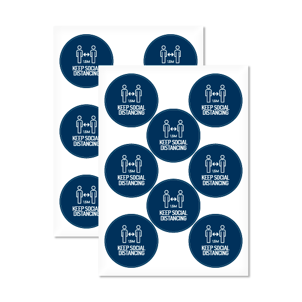 Keep Social Distancing 80mm Round Sticker (16 Pack)