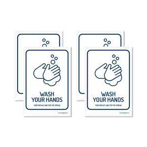 Wash Hands A5 Sticker (4 Pack)