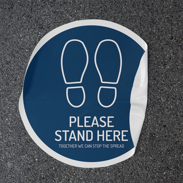 Stand Here 500mm Round Floor Decal