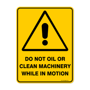 Warning - DO NOT OIL OR CLEAN