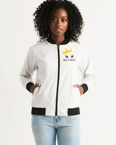 Premium White Collection: Black Queen Women's Bomber Jacket