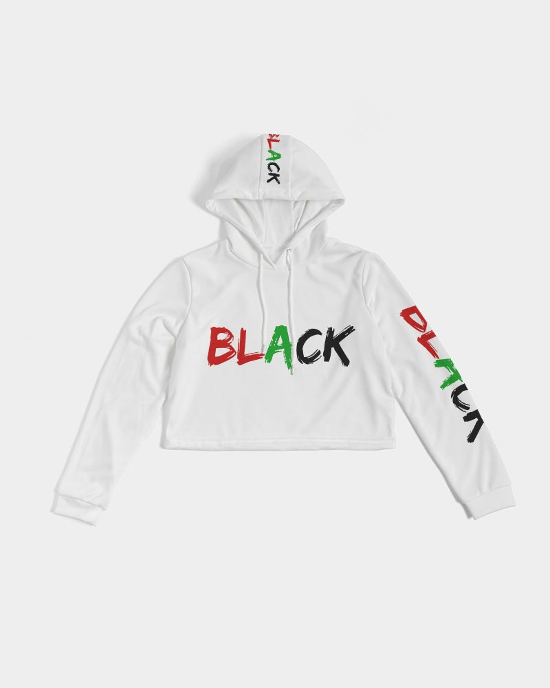 Premium White Collection: Black Women's Cropped Hoodie