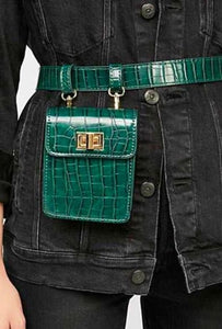 Mini Vintage Alligator Faux Leather Waist Bag