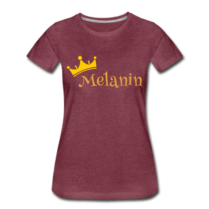 Melanin Queen Premium T-Shirt - heather burgundy