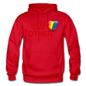 Love Each Other Adult Hoodie - red