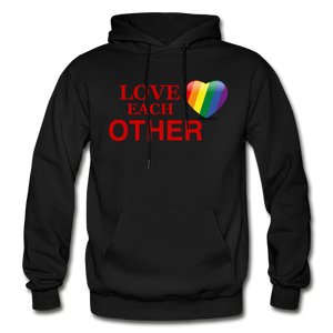 Love Each Other Adult Hoodie - black