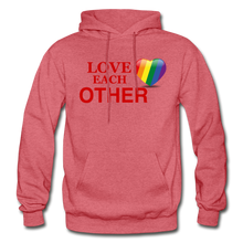 Load image into Gallery viewer, Love Each Other Adult Hoodie - heather red