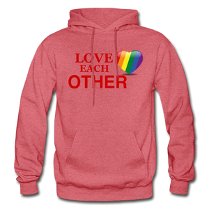 Love Each Other Adult Hoodie - heather red