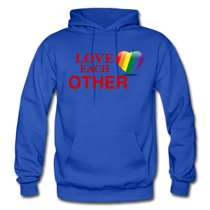 Love Each Other Adult Hoodie - royal blue