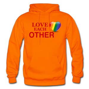 Love Each Other Adult Hoodie - orange