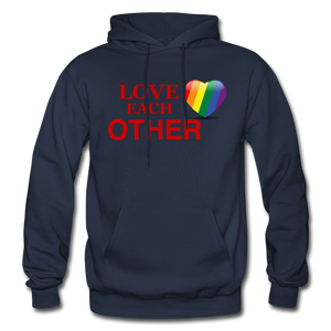 Love Each Other Adult Hoodie - navy