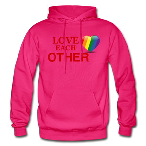 Love Each Other Adult Hoodie - fuchsia