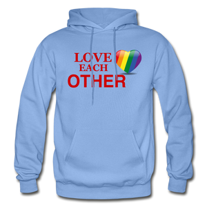 Love Each Other Adult Hoodie - carolina blue