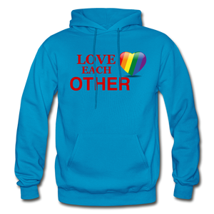 Love Each Other Adult Hoodie - turquoise
