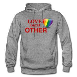 Love Each Other Adult Hoodie - graphite heather