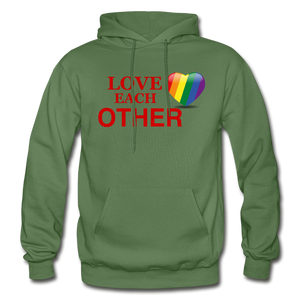 Love Each Other Adult Hoodie - military green